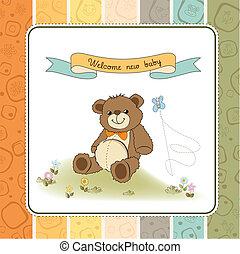 dusche, reizend, baby, karte, teddy