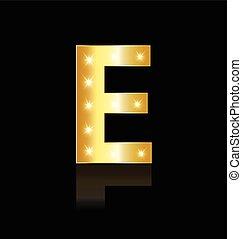 E Buchstaben mit leuchtenden Lichtzeichen.