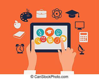 E-Learning Konzept. Hände berühren eine Tafel mit Bildungs-Ikonen. Vector.