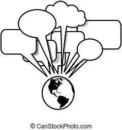Earth West spricht Blogs Tweets in Sprachblasen Kopierraum.