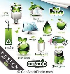 Eco-Designelemente und Ikonen