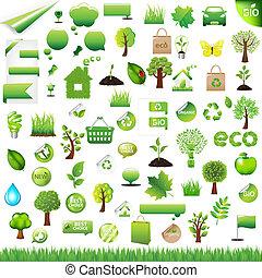 eco, elemente, design, sammlung