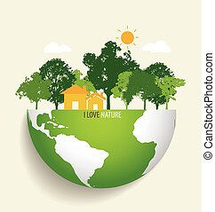 eco, grün, vektor, earth., illustration.