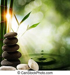 eco, hintergruende, wasser, spritzen, orientalische , bambus
