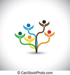 Eco Vektor Icon - Familienbaum und Teamwork Konzept.