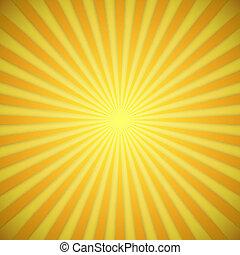 effect., gelber , hell, vektor, hintergrund, orange, schatten, sunburst