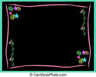 Ein Bild von Neonsternen, Herzen, Spiralen und Wirbeln