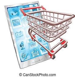Ein Einkaufstelefon-App-Konzept