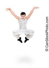 Ein ernsthafter Tänzer springt