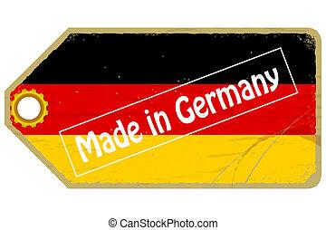 Ein Etikett mit der Flagge Deutschlands