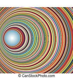 Ein farbenfroher Tunnel mit Kreisen abbrechen