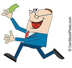 Ein fröhlicher Mann mit Geld.