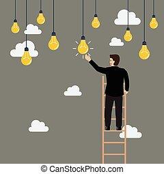 Ein Geschäftsmann auf der Leiter hat eine Glühbirne Idee
