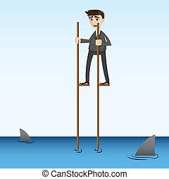 Ein Geschäftsmann, der auf See läuft.