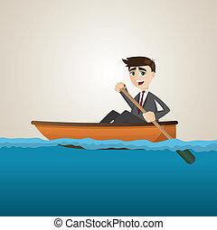 Ein Geschäftsmann, der auf See paddelt.