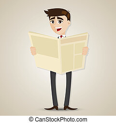 Ein Geschäftsmann, der Zeitung liest.