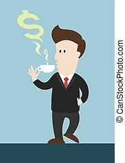Ein Geschäftsmann trinkt Kaffee oder Tee