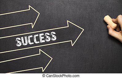 Ein Geschäftsmann zieht Erfolgskonzept mit Pfeilen.