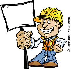 Ein glücklicher Bauunternehmer mit Zeichentrick-Vektor-Bild