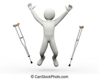Ein glücklicher Mann, der mit Krücken springt