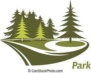 Ein grüner Park mit Pinien.