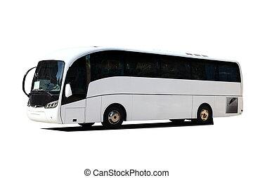 Ein großer weißer Tourbus isoliert