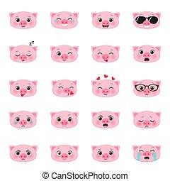 Ein Haufen Schweine emojis.