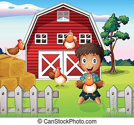 Ein Junge, der mit seinen Tieren spielt.