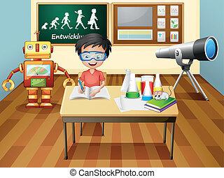 Ein Junge in einem Labor.