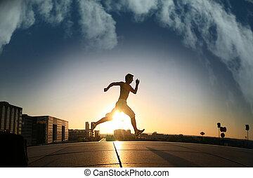 Ein junger Sportler, der läuft