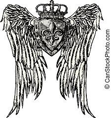 Ein königliches Emblem mit Flügel-Tattoo