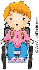 Ein Kind im Rollstuhl