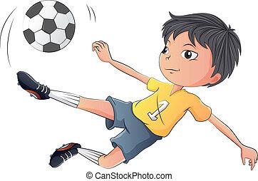 Ein kleiner Junge, der Fußball spielt