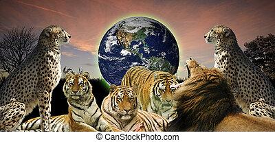 Ein kreatives Bild von der Tierwelt, die den Planeten Erde schützt, da er ihnen und den Menschen gehört