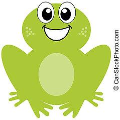 Ein lächelnder grüner Frosch.