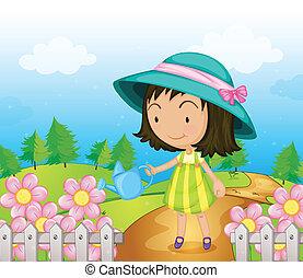 Ein Mädchen, das die Blumen gießt