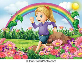 Ein Mädchen, das im Garten rennt