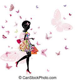 Ein Mädchen mit einem Blumenladen.