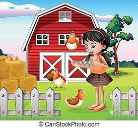 Ein Mädchen mit ihren Farmtieren