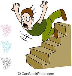 Ein Mann, der die Treppe runterfällt