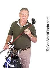 Ein Mann, der Golfschläger hält