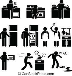 Ein Mann, der in der Küche kocht