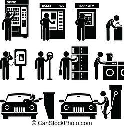 Ein Mann mit einer öffentlichen Automaschine