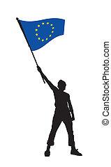 Ein Mann mit einer Flagge von Europa, Vektor illustriert