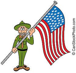 Ein Mann mit einer Flagge von unsa