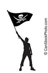 Ein Mann mit einer Piratenflagge, Vektor Illustration