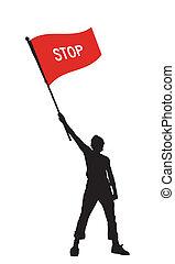 Ein Mann mit einer Stopp-Flagge