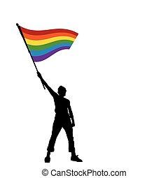 Ein Mann mit Friedensflagge, Vektor Illustration