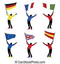 Ein Mann mit nationaler Flagge