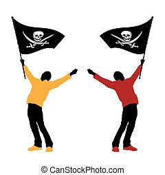 Ein Mann mit Piratenflagge